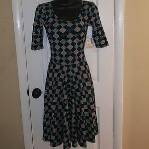 LULAROE Nicole Geo Print Fit Flare Dress X…